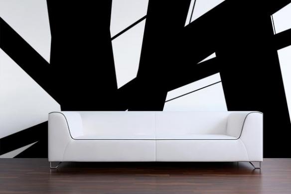 Papier peint moderne noir et blanc Instable