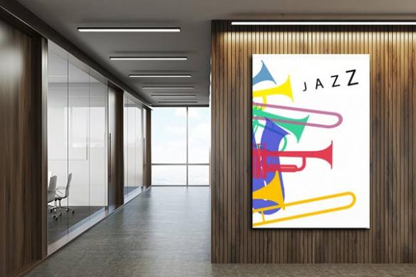 Décoration bureaux toile grand format Affiche de Jazz