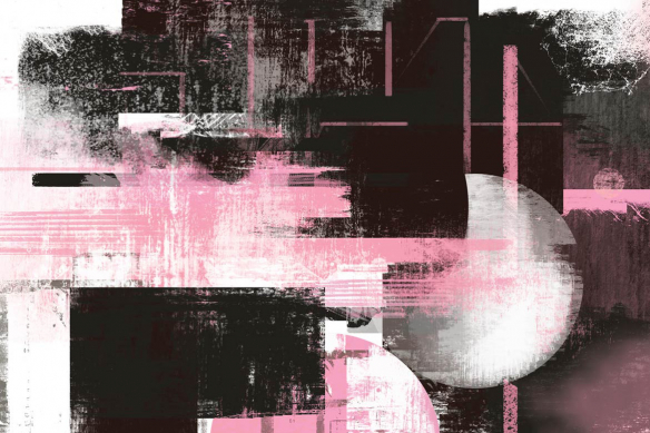Cadre déco abstrait Eclipse rose