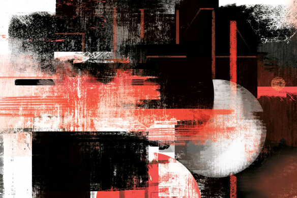 Cadre déco abstrait Eclipse rouge