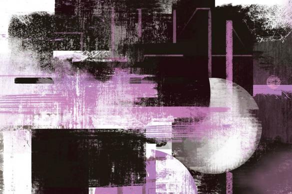 Cadre déco abstrait Eclipse violet