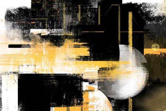 Cadre déco abstrait Eclipse jaune