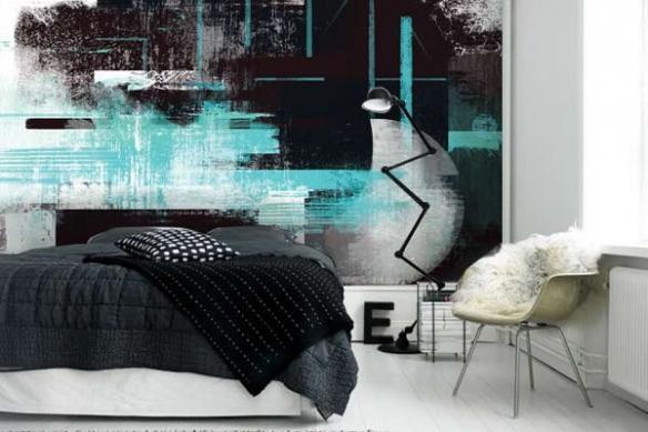 tapisserie chambre moderne Eclipse bleu ciel izoa
