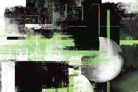 papier peint moderne Eclipse vert izoa