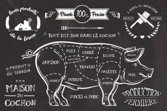 tapisserie moderne Cochon