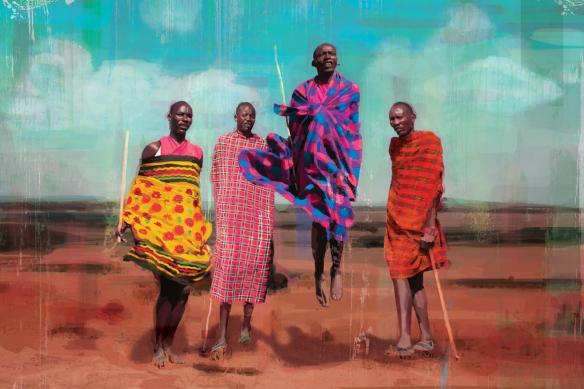 Toile déco colorée Maasai