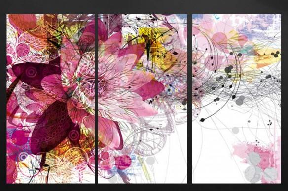 tableau-triptyque-contemporain-fleur-ethnique