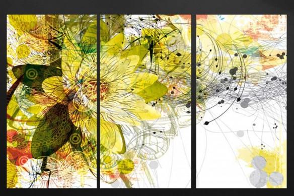 tableau-triptyque-fleur-mural-jaune