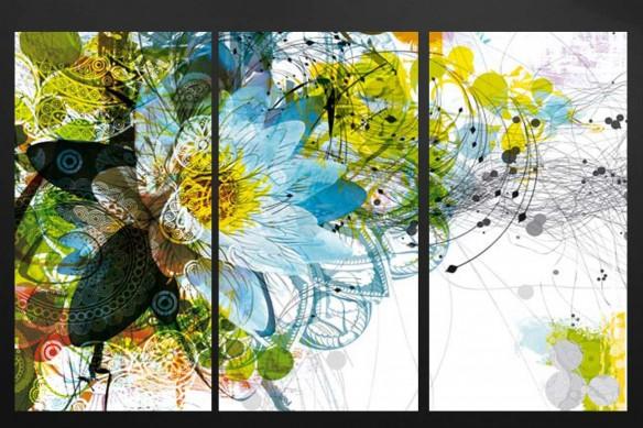 triptyque-photo-bleu-et-jaune-fleur-moderne