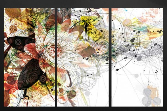 tryptique-design-marron-fleur