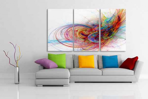 Tableau triptyque abstrait color et design - Triptyque abstrait ...