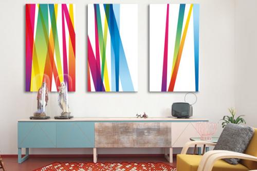 Triptyque tableau abstrait Lignes abstraites