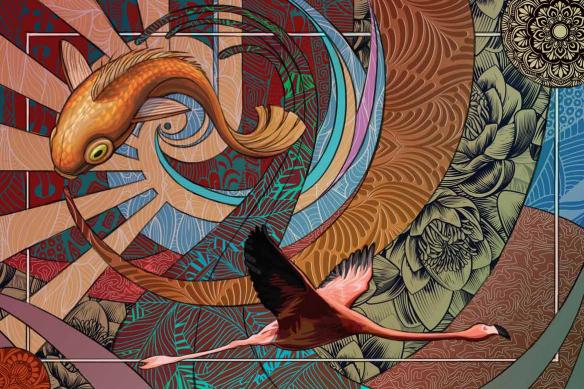 Tableau original zen art déco Parade Psychédélique