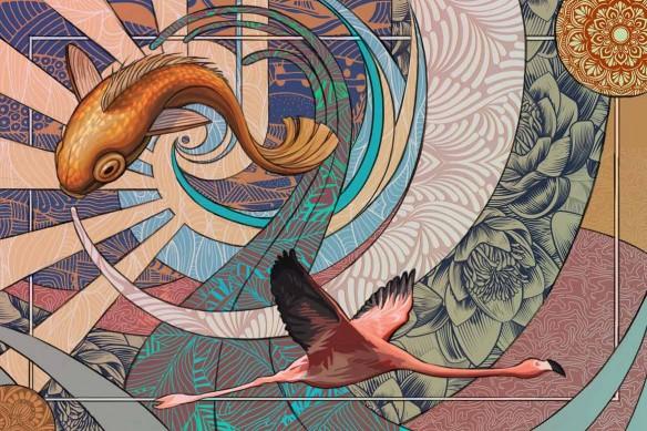 tapisserie moderne Parade Psychédélique bleu ciel