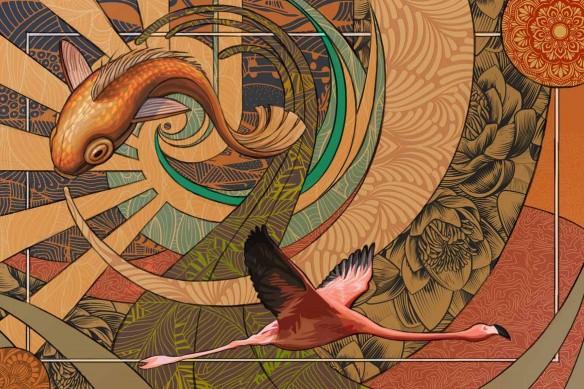 tapisserie design Parade Psychédélique jaune or