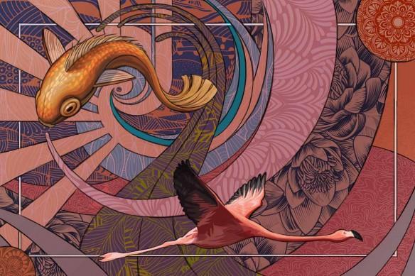 papier peint design Parade Psychédélique rose