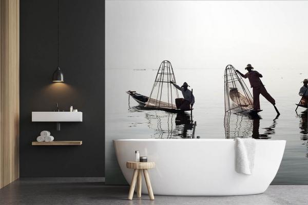 papier peint pour salle de bain original et d paysant. Black Bedroom Furniture Sets. Home Design Ideas
