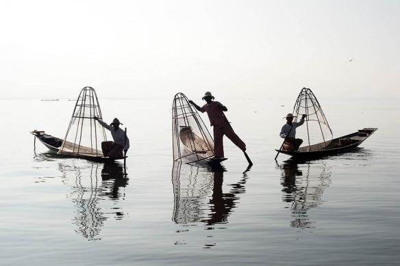 Papier peint tropical Pêcheurs Thaïlandais