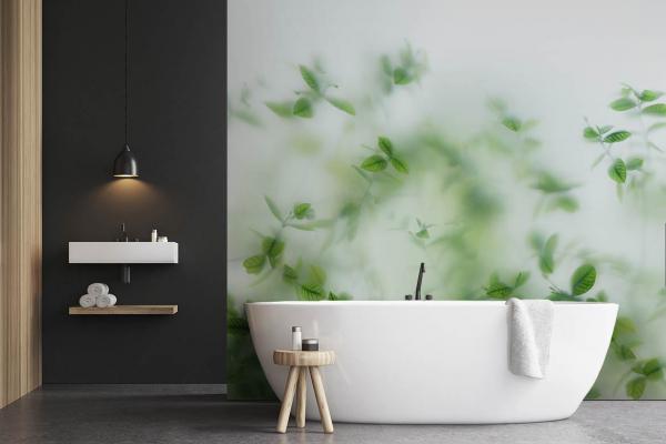 Papier peint salle de bain trompe l 39 oeil feuillage - Papier peint pour salle de bain ...