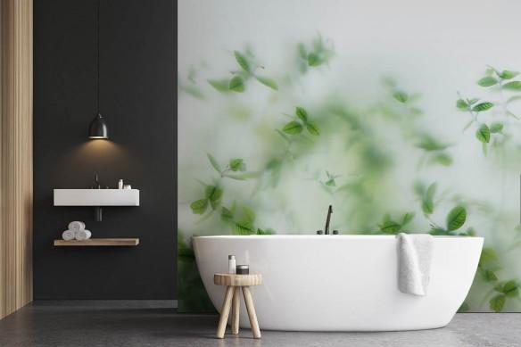 Papier peint salle de bain Feuillage translucide