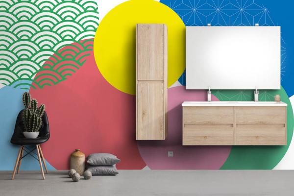 papier peint salle de bain g om trique moderne et color. Black Bedroom Furniture Sets. Home Design Ideas