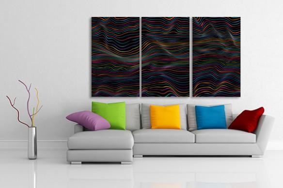 Tableaux triptyque abstrait Ondes colorées