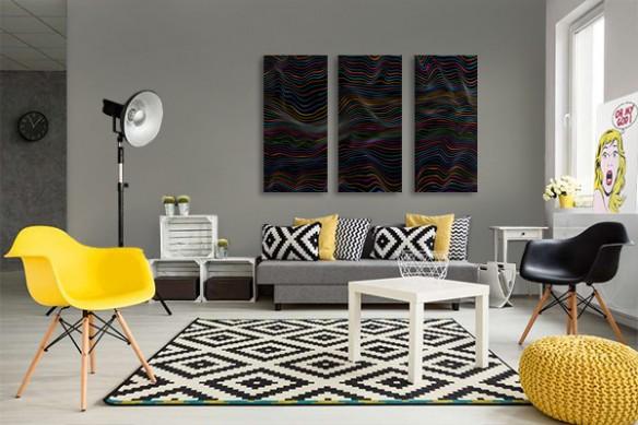 toiles abstraites noires Ondes colorées