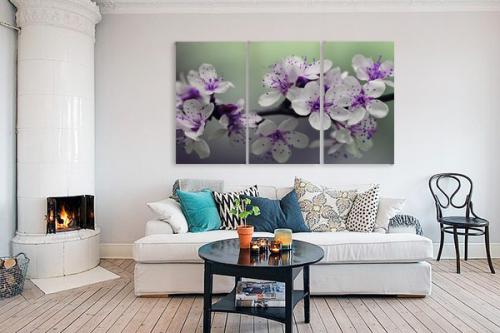 Tableaux Fleurs triptyque