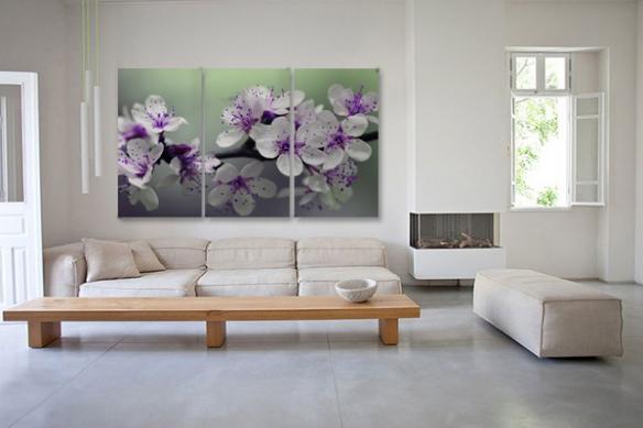 toiles imprimées Triptyque Fleurs