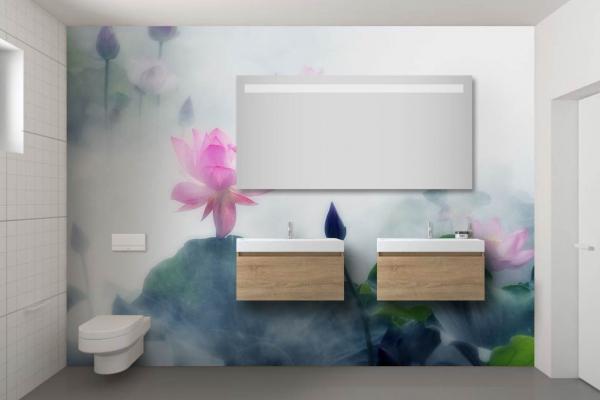 papier peint salle de bain ambiance tropicale et zen lotus