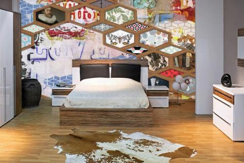 Papier peint chambre Hexagone