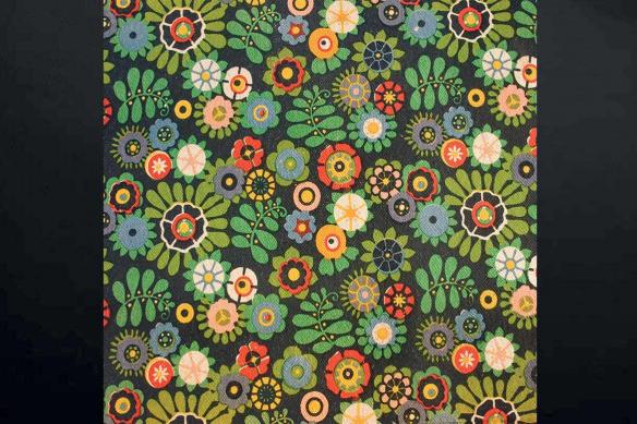 Toile verte vintage Flowers