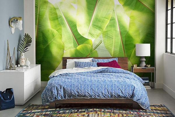 papier peint tropical feuilles de bananier pour d coration jungle. Black Bedroom Furniture Sets. Home Design Ideas