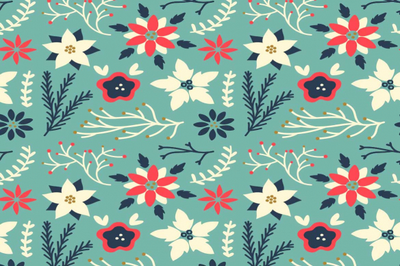 Toile scandinave Floral Scandinave bleu