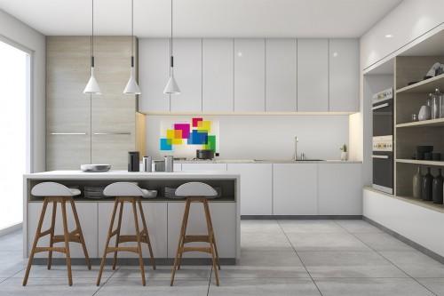 Décoration cuisine avec fond de hotte Pensée Abstraite