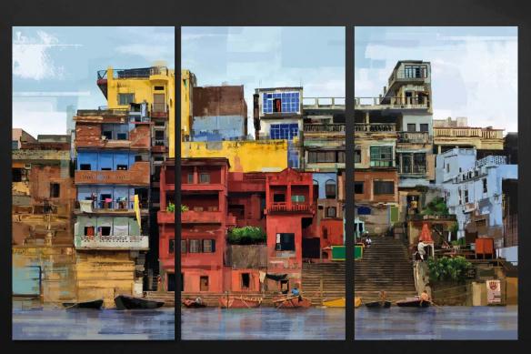 triptyque coloré moderne tableau toile favelas