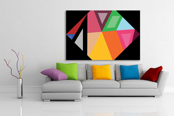 Toile abstraite contemporaine hexagone