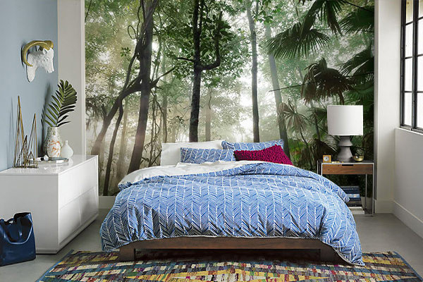 papier peint tropical pour chambre jungle avec rayon de soleil. Black Bedroom Furniture Sets. Home Design Ideas