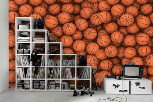 Papier peint chambre ado 3d ballons basket