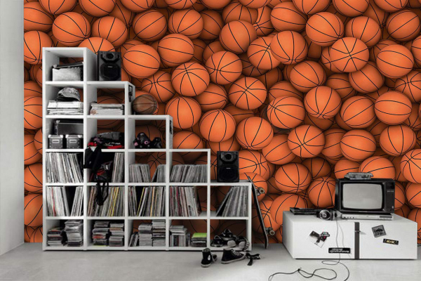 papier peint chambre ado 3d ballons de basket. Black Bedroom Furniture Sets. Home Design Ideas
