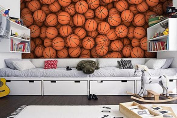 poster trompe l'oeil ballons basket