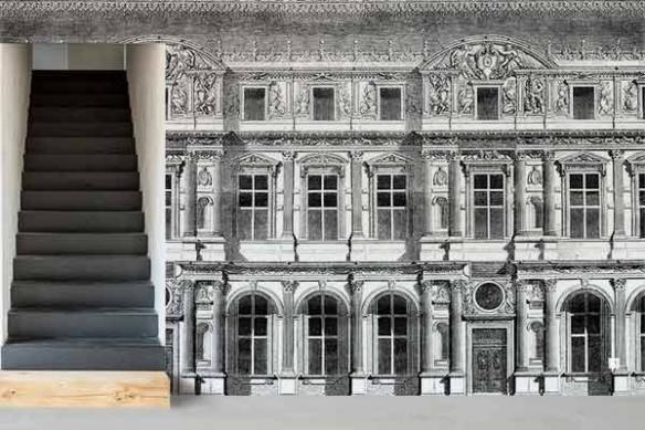 Papier peint moderne trompe oeil Façade Haussmannienne