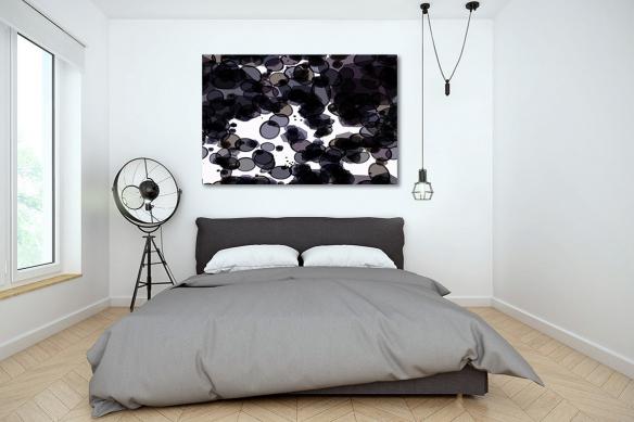 Tableau abstrait noir blanc Monocellulaire