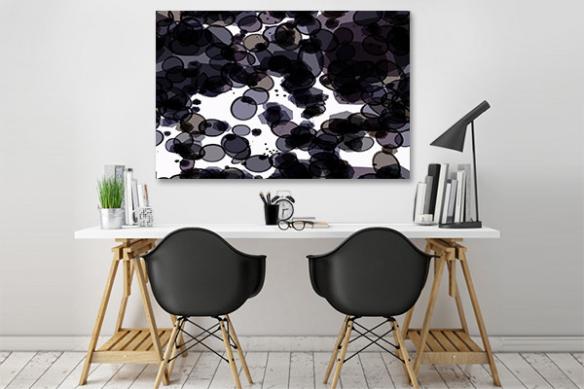 Tableau moderne abstrait noir blanc Monocellulaire