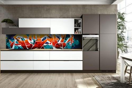 cr dence adh sive cuisine originale avec un rev tement mural sp ciale izoa. Black Bedroom Furniture Sets. Home Design Ideas