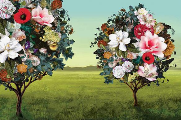 Papier peint panoramique original Arbres Fleurs