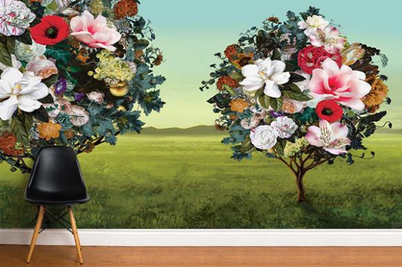 Décoration murale salon Arbres Fleurs