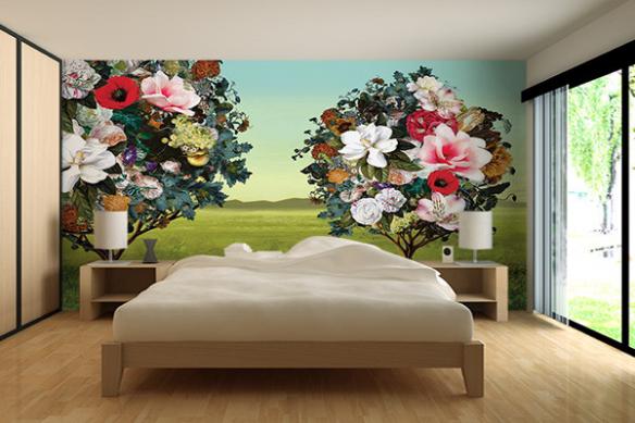 Papier peint xxl Arbres Fleurs