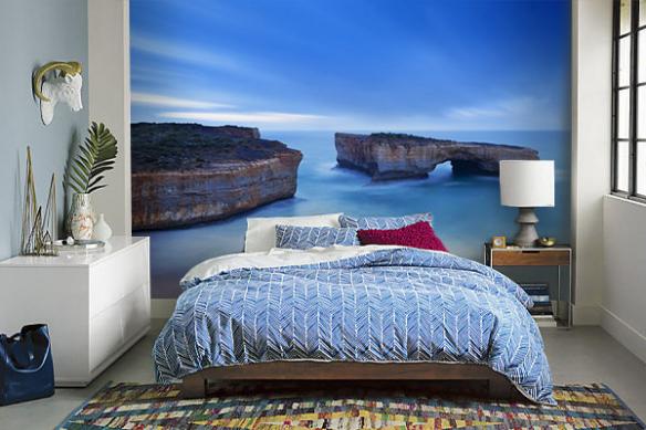 Papier peint bleu chambre Algarve