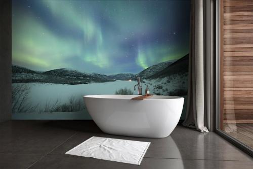 Papier peint salle de bain Aurore polaire